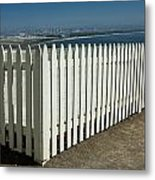 Picket Fence By The Cabrillo National Monument Lighthouse In San Diego Metal Print
