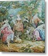 Picnic In France Tapestry Metal Print by Unique Consignment