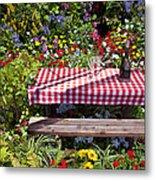 Picnic Table Among The Flowers Metal Print