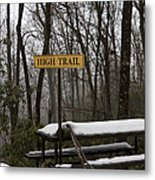 Picnic Table In Snow Metal Print by Will and Deni McIntyre