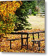 Picnic Table With Autumn Leaves Metal Print by Elena Elisseeva