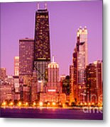 Picture Of Chicago Skyline By Night Metal Print