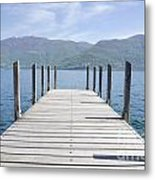 Pier And Snow-capped Mountain Metal Print