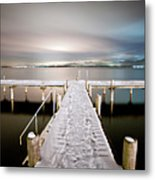 Pier At Night Metal Print by daitoZen