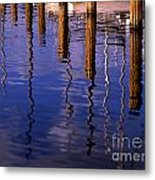 Pier Reflections Metal Print