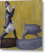 Pig Chasing Metal Print