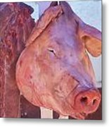 Pig In The Market Metal Print