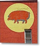 Pig On A Wall Metal Print