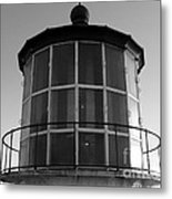 Pigeon Point Lighthouse Beacon - Black And White Metal Print