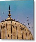 Pigeons Around Dome Of The Jama Masjid In Delhi In India Metal Print