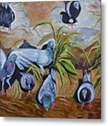 Pigeons At Rancho De Chimayo Metal Print