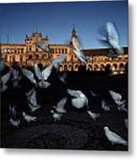 Pigeons Flutter Above The Plaza De Metal Print