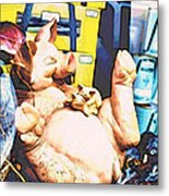 Piggy And Piglets In Store Window Metal Print