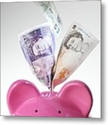 Piggy Bank And British Pounds Metal Print by Tek Image