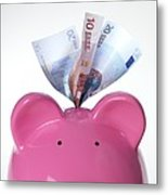 Piggy Bank And Euros Metal Print by Tek Image