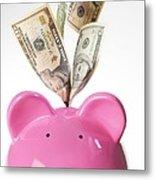 Piggy Bank And Us Dollars Metal Print by Tek Image