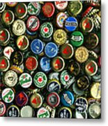 Pile Of Beer Bottle Caps . 8 To 10 Proportion Metal Print