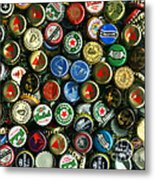Pile Of Beer Bottle Caps . 9 To 12 Proportion Metal Print
