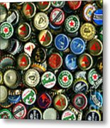 Pile Of Beer Bottle Caps . 9 To 16 Proportion Metal Print