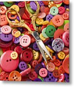 Pile Of Buttons With Scissors  Metal Print