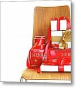 Pile Of Gifts On Wooden Chair Against White Metal Print