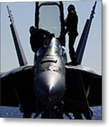 Pilots Conducts A Pre-flight Inspection Metal Print