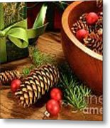 Pine Branches With Gift Tag  Metal Print
