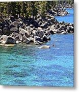 Pines Boulders And Crystal Waters Of Lake Tahoe Metal Print