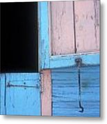 Pink And Blue Shutters Barahona Dominican Republic Metal Print