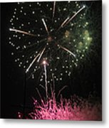 Pink And Green Delight Metal Print
