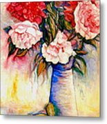 Pink And Red Peony Roses In A Tall Blue Porcelain Vase Metal Print