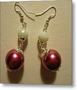 Pink And White Ball Drop Earrings Metal Print by Jenna Green