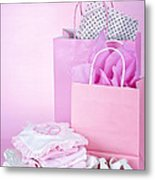Pink Baby Shower Presents Metal Print