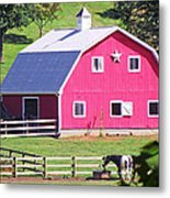 Pink Barn In The Summer Metal Print