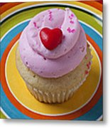 Pink Cupcake With Red Heart Metal Print