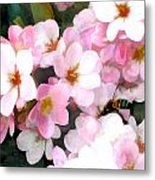 Pink Flowers With Bee Metal Print