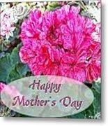 Pink Geranium Greeting Card Mothers Day Metal Print