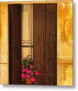 Pink Geraniums Brown Shutters And Yellow Window In Italy Metal Print