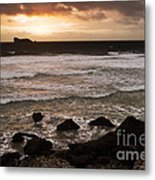 Pink Granite Coast At Sunset Metal Print
