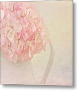 Pink Hydrangea Flowers In White Vase Metal Print