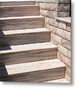 Pink Marble Staircase In Patmos Greece Metal Print