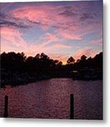 Pink N Blue Sunset On The Chesapeake Bay Va Metal Print