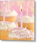 Pink Party Cupcakes Metal Print by Amanda Elwell