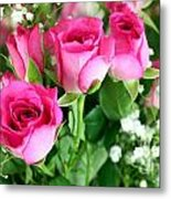 Pink Roses And Gypsophila Bouquet Metal Print