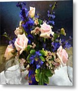 Pink Roses And Purple Delphinium Metal Print