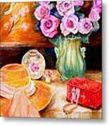 Pink Roses In A Green Vase With A String Of Pearls And A Pretty Summer Straw Hat  Metal Print