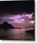 Pink Sky Over St. Michaels Mount Metal Print