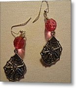 Pink Spider Earrings Metal Print