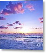 Pink Sunset On The Beach Metal Print