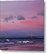 Pink Sunset Over Mackinac Michigan Metal Print